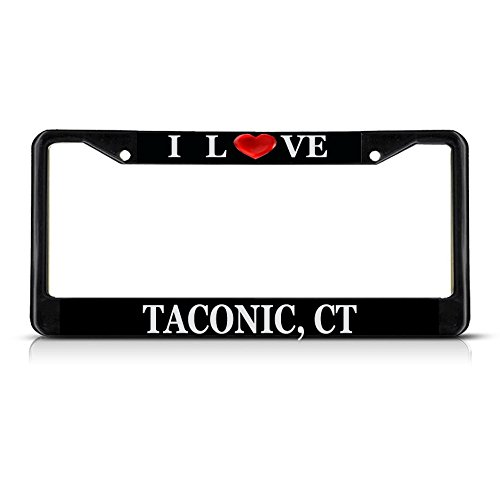 I Love Heart Taconic, Ct Black Metal License Plate Frame Tag Border