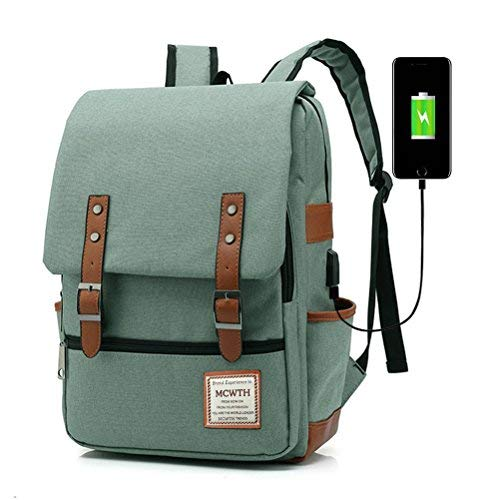 MCWTH Travel Laptop Backpack, Business Slim Durable Tablet Backpack with USB Charging Port,Water Resistant College Student School Computer Bag for Women & Men Fits 15.6 Inch Laptop and Notebook Green