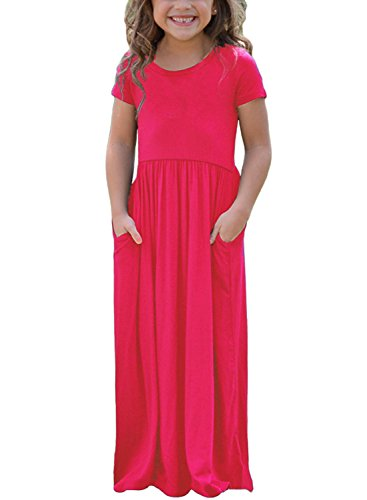 AlvaQ Girls Cap Summer Soft Short Sleeve Cinched Long Maxi Dress Casual Size 8 Rose -