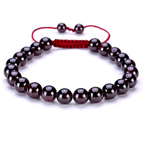 BRCbeads Gemstone Bracelets Red Garnet Natural Gemstones Birthstone Healing Power Crystal Beads Handmade 8mm Stretch Macrame Adjustable Loose Beads With Gift Box Unisex