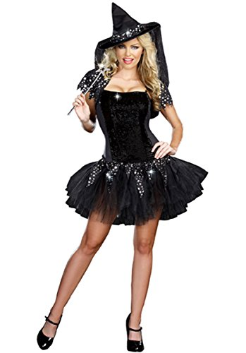 Starry Night Witch Costumes - PINSE Halloween Woman Starry Night Witch