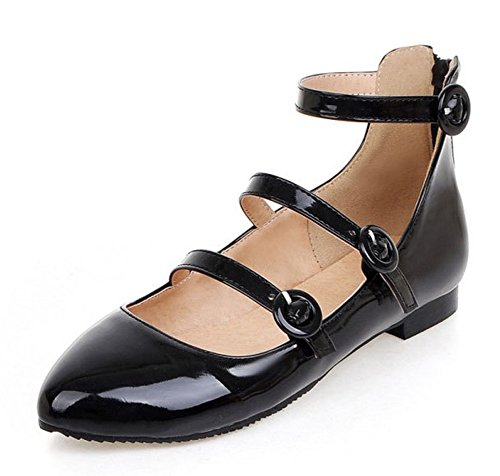 Low Ankle Cut With Black Pointed Dress Toe Shoes Buckle Straps Womens Flats Cute Aisun Comfort IZtxq7