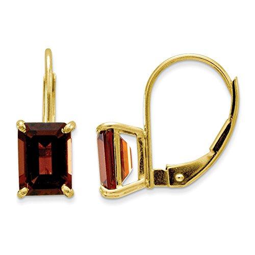 14K Yellow Gold 7.00 X 5.00MM Emerald-Cut Garnet Lever back Earrings