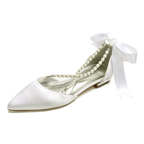 MarHermoso Womens Pointed Toe Cross Strap Pealrs Ribbon Tie Comfort Wedding Bridal Shoes -