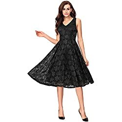 Noctflos Lace V Neck Fit & Flare Midi Cocktail Dress for Women Party Wedding (Medium, Black)