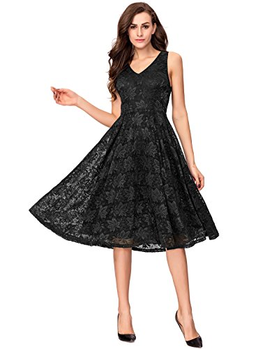 98e80636cd6 Noctflos Lace V Neck Fit   Flare Midi Cocktail Dress for Women Party  Wedding (XX-Large