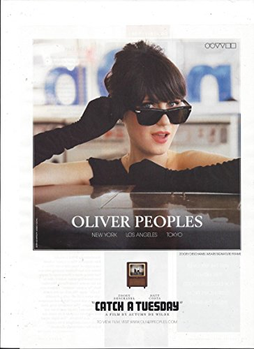 MAGAZINE AD For 2009 Oliver Peoples Glasses With Zooey - Deschanel Zooey Glasses