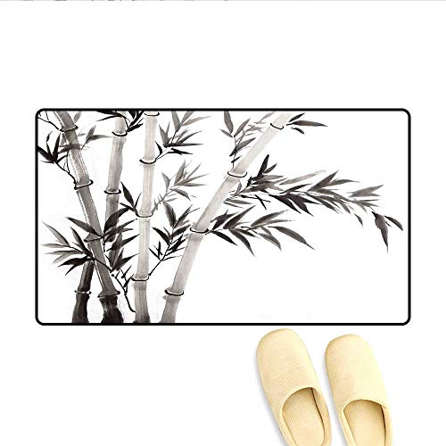 Bath Mat Traditional Bamboo Leaves Meaning Wisdom Growth Renewal Unleash Your Power Artprint Door Mat Small Rug Grey White 20