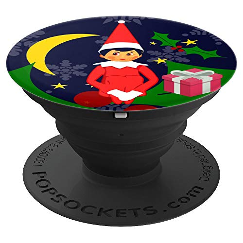 (Christmas Elf Shelf Sitter Knee Hugger Elves Winter Snow - PopSockets Grip and Stand for Phones and Tablets)