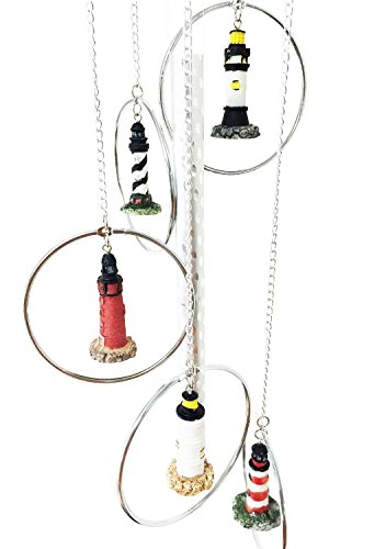Cheap Ebros Five World Famous Light Houses In Metal Rings Wind Chime Decor Resonant Relaxing Patio Aluminum And Resin Construction
