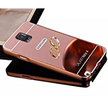 Samsung Galaxy Note 4 N9100 Bling Mirror Case,Vandot Premium Fashion Ultra Slim Thin Metal Aluminum Bumper Frame Hard Back Cover Pattern [Scratch-resistant] [Shockproof] Protection-Rose Gold