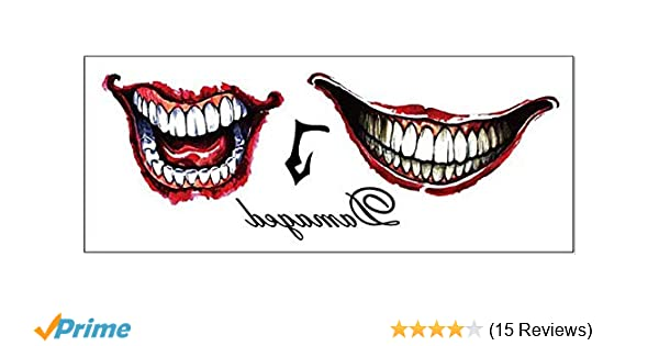4dc17beed Amazon.com : DaLin Joker Face & Hand Temporary Tattoos for Costume  Accessories and Parties : Beauty