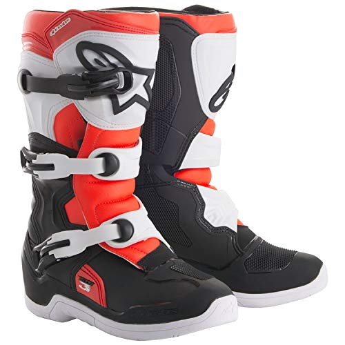 Image of Alpinestars 2019 Youth Tech-3S Boots (7) (Black/White/FLO RED)