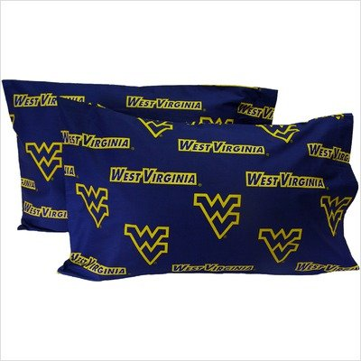 College Covers West Virginia Mountaineers Pillowcase Pair - King - Solid (Includes 2 Pillowcases)