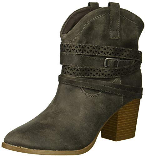 Rampage Women's Faith Love Strappy Ankle Bootie Boot, Charcoal Distress Fabric, 8.5 M US