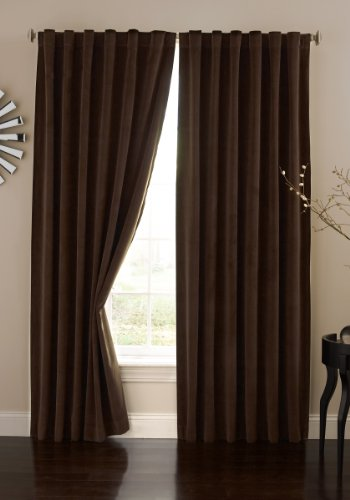 Absolute Zero 11718050X063CH Velvet Blackout Home Theater 50-Inch by 63-Inch Single Curtain Panel, Chocolate (Panels Velvet)