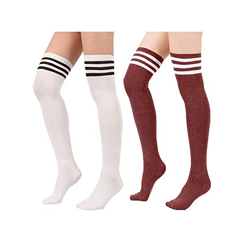 Spring Fever Womens Cotton Vertical Stripe Tube Over Knee Thigh High Stockings 2 Pairs White w Burgundy