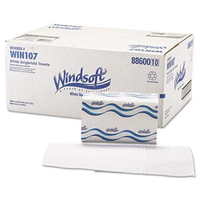 Windsoft 107 Singlefold Paper Towels, 1-Ply, 9 9/20 x 9, White, 250 per Pack (Case of 16)