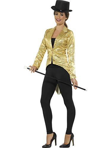 [Smiffy's Women's Sequin Tailcoat Jacket, Ladies, Gold, Large] (Sequin Tailcoat Costume)