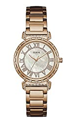 GUESS W0831L2,Ladies Dress,Stainless Steel,Rose Gold-Tone,Crystal Accented Bezel,30m WR
