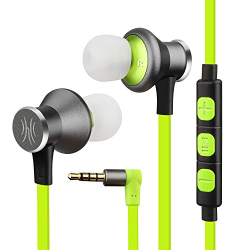 Green Earphone Headphone (OneOdio Sports Earbuds In-Ear Headphones with Mic – Magnetic Wired Earphones, Tangle Free Sweatproof Headsets for Running/ Gym/ Exercise. (Fluorescent Green))