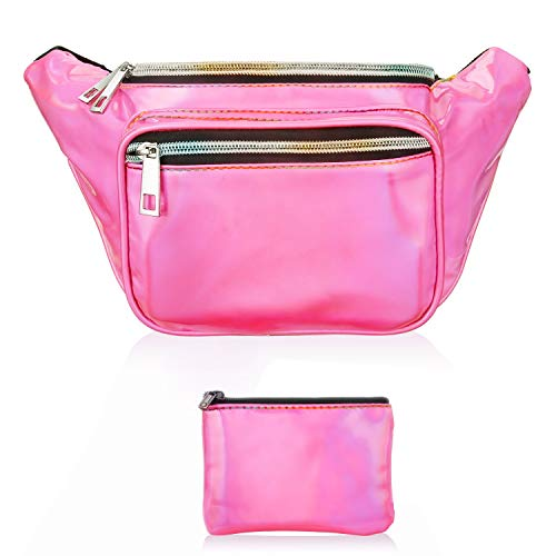 Hot Pink Checker - Fanny Pack, Waist Fanny Pack Bum Bag for Women Men,Waterproof Waist Pack Retro Neon Fanny Bag for Festival, Rave (holographic hot pink)