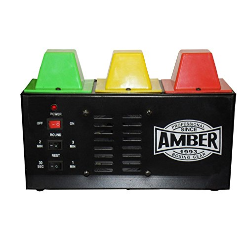 AMBER Fight Gear Professional Classic Interval Gym Timer for Muay Thai, MMA, Kickboxing, Boxing, Martial Arts with Lights