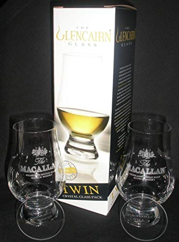 MACALLAN TWIN PACK GLENCAIRN SCOTCH MALT WHISKY TASTING GLASSES WITH TWO WATCH GLASS COVERS -