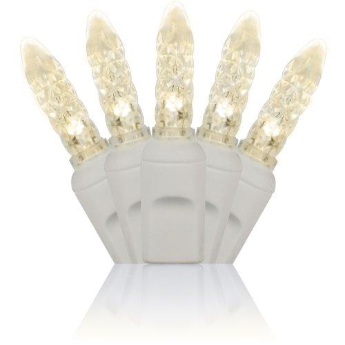 Holiday Lighting Outlet M6 LED Christmas Mini Lights, Mini Ice, M5, Warm White, White Cord, 70LT 4