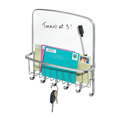 mDesign Metal Wall Mount Entryway, Office Storage Organizer Mail Basket with Dry Erase Board, 6 Hooks - Holds Letters, Magazines, Keys, Coats, Leashes - Strong Steel Wire Design - Chrome (Chrome Letters Walls For)