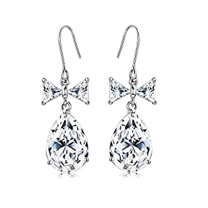 Kesaplan Bow Knot Earrings for Girls, Swarovski Crystals Teardrop Earrings White Crystal Drop Dangle Earrings for Women