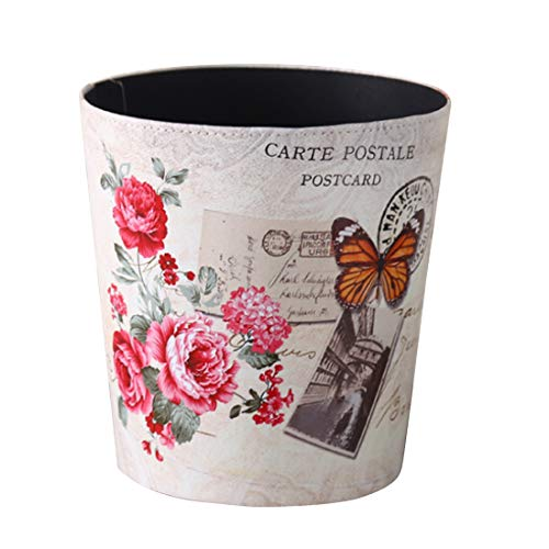 (Yamix 10L European Style PU Trash Can Wastebasket Waste Bin Waste Paper Basket Trash Bin Garbage Can Without Lid for Kitchen Bedroom Bathroom Office (Rose Butterfly))