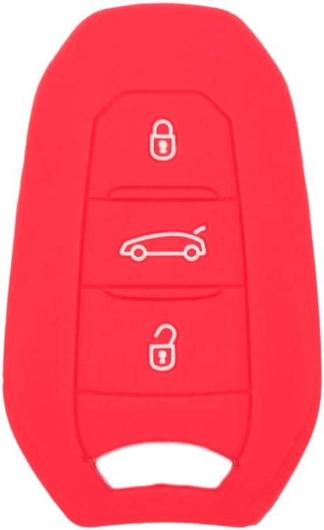 SEGADEN Silicone Cover Protector Case Skin Jacket fit for PEUGEOT CITROEN DS 3 Button Smart Remote Key Fob CV4303 Black