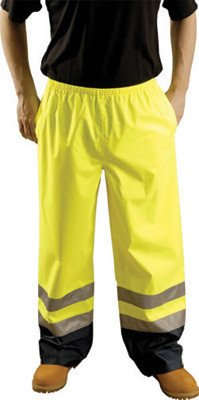 OccuNomix 2X Yellow Premium Polyester And Polyurethane Breathable Rain Pants With No Fly Closure And 3M Scotchlite Reflective Stripe