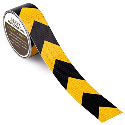 2 X 30 Feet Reflective Hazard Warning Tape Waterproof Yellow/Black - High Intensity Reflector Safety Tape For Stairs Steps Floors