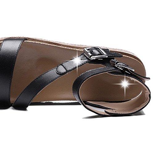 Open Flatform Sandals Shoes Fashion Sandals Strap Toe COOLCEPT Black Women Ankle wIqpxAw0X