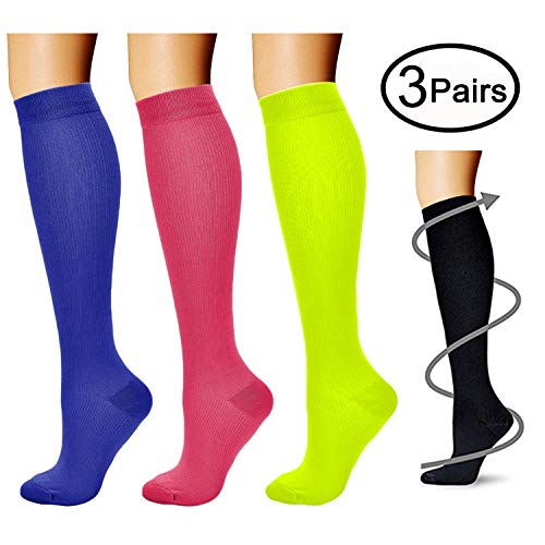 - Compression Socks (3 Pairs), 15-20 mmHg is BEST Athletic & Medical for Men & Women, Running, Flight, Travel, Nurses - Boost Performance, Blood Circulation & Recovery (Large/X-Large, Red+Blue+Green)