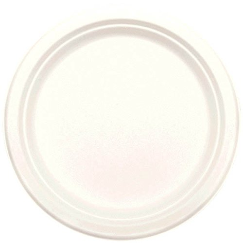 Amscan Party Ready Disposable Round Luncheon Plates Tableware, White, Natural Sugar Fiber, 8'', Pack of 50 Supplies (600 Piece)