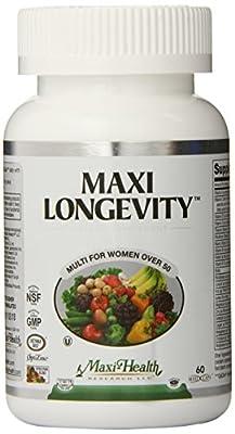 Maxi Health Longevity - Multivitamins & Minerals Supplement for Women Over 50 - 60 Capsules - Kosher