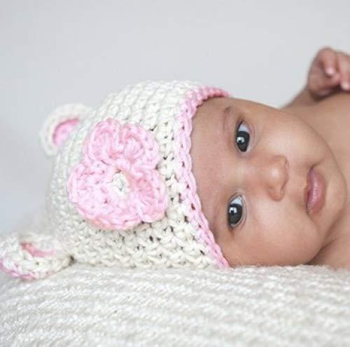 Melondipity Girls Sugar Bear White Pink Baby Hat Knit Animal Beanie Pink Flower, Ears Trim (newborn)
