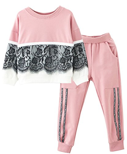 Toddlers Little Girl Kids Toddlers Long Sleeve Top Pant Legging Set(Lace pink,160) , Lace Pink , #160(11-12Years) -