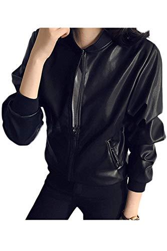 Giacca Bomber Donna Autunno Invernali Manica Lunga Collo Coreana Giacca di Pelle Vintage Casual Grazioso Finta Pelle Giacca da Aviatore Cappotto Nero Nero