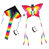 Large Rainbow Delta and Butterfly Kites - SINGARE 2 Pack Easy Flyer Kites with Long Colorful Tail for Kids Adults Outdoor Game, Activities, Beach Trip, Great Gift to Kids Childhood Precious Memories