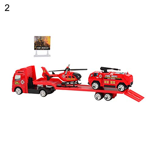 bromrefulgenc Intelligence Toy for Toddler,Trailer Helicopter Toy 4Pcs Mini Alloy Simulation Model Children -