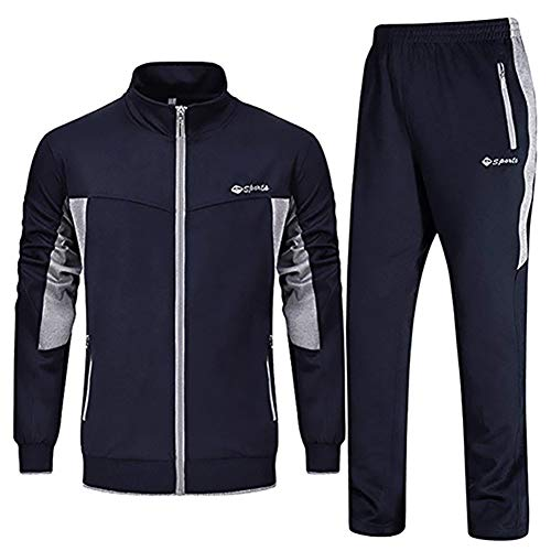 LBL Men's Tracksuit Athletic Sports Casual Full Zip Active Wear Sweatsuit Navy Blue ()
