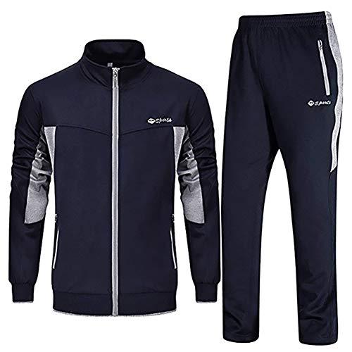 Sweatsuit Navy - LBL Men's Tracksuit Athletic Sports Casual Full Zip Active Wear Sweatsuit Navy Blue