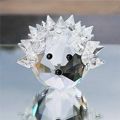 Waltz&F Clear Crystal Hedgehog Collectible Figurine Mini Animal Statue