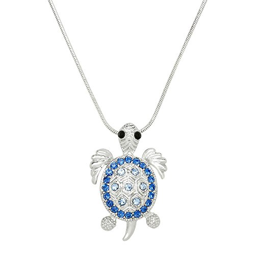 - Liavy's Sea Turtle Charm Pendant Fashionable Necklace - Sparkling Crystal - 17