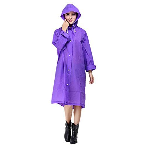 Women's Raincoat Long Sleeves With Hood EVA Polka Dot/Translucent Waterproof Rain Jacket Long Hooded Rainwear Ladies Showerproof Mac With Pouch for Women, Size L, XL, Blue, Red, White, Purple, Grey Translucent Purple