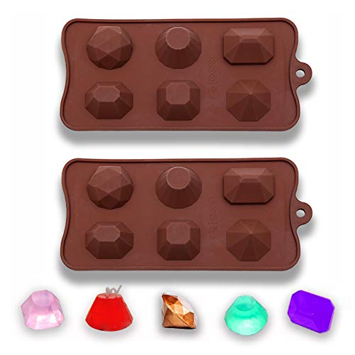 Mity Rain Gem Stones Silicone Molds - Diamond Candle Molds for Making Jewelry Crystal Epoxy Resin Candy Chocolate Ice Cube Tray (Set of 2)